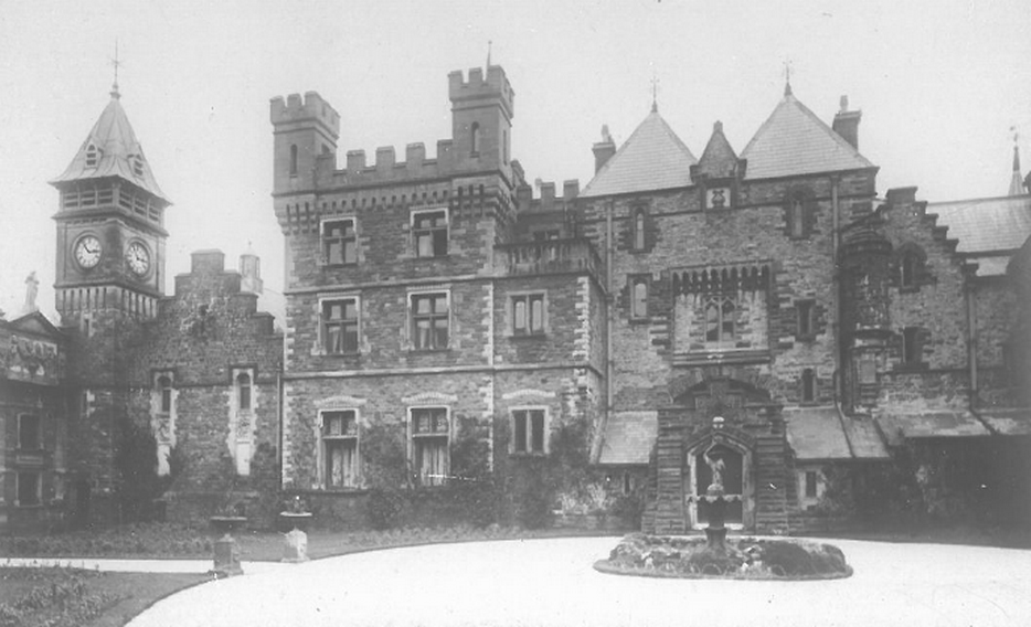 Craig y Nos Castle in the Brecon Beacons - old picture taken probably around 1900. Note the theatre has different doors arrangement to present day and of course the front courtyard is laid to gardens.