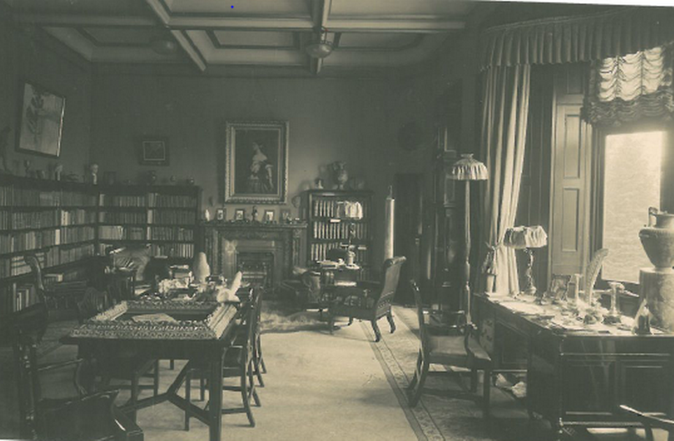 Nicolini reception lounge in the era of Adelina Patt's second husband, Ernest Nicolini. Nicolini used this room as his office and library