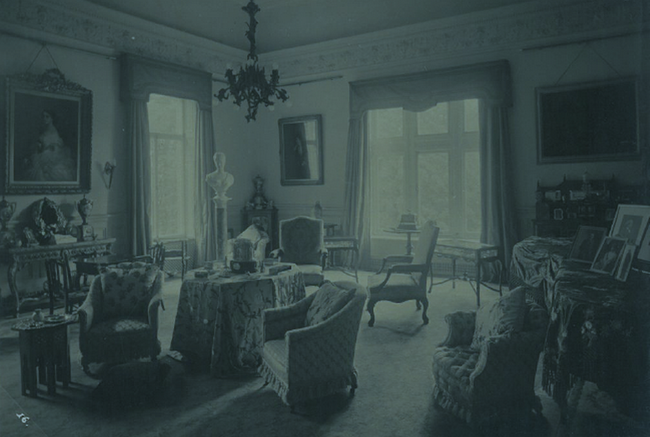 The Music Room at Craig y Nos Castle circa 1900-10, in use as Adelina Patti's sitting room.