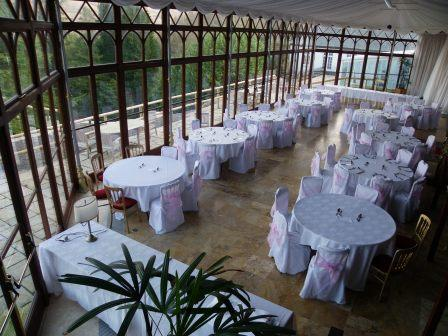 Craig y Nos Castle Conservatory set up ready for a wedding