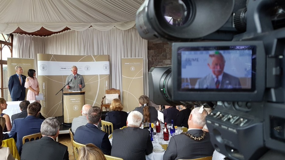 Prince Charles giving a speech in the Conservatory at Craig y Nos Castle - Prime Cymru Awards Conference