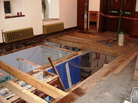 Becon Beacons Hotel replacing floor joists in function room above the Blue Bar