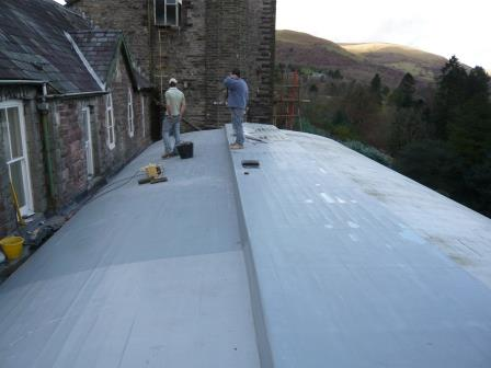 Installation of a new fibreglass roof to the Conservatory at Craig y Nos Castle in Brecon Beacons