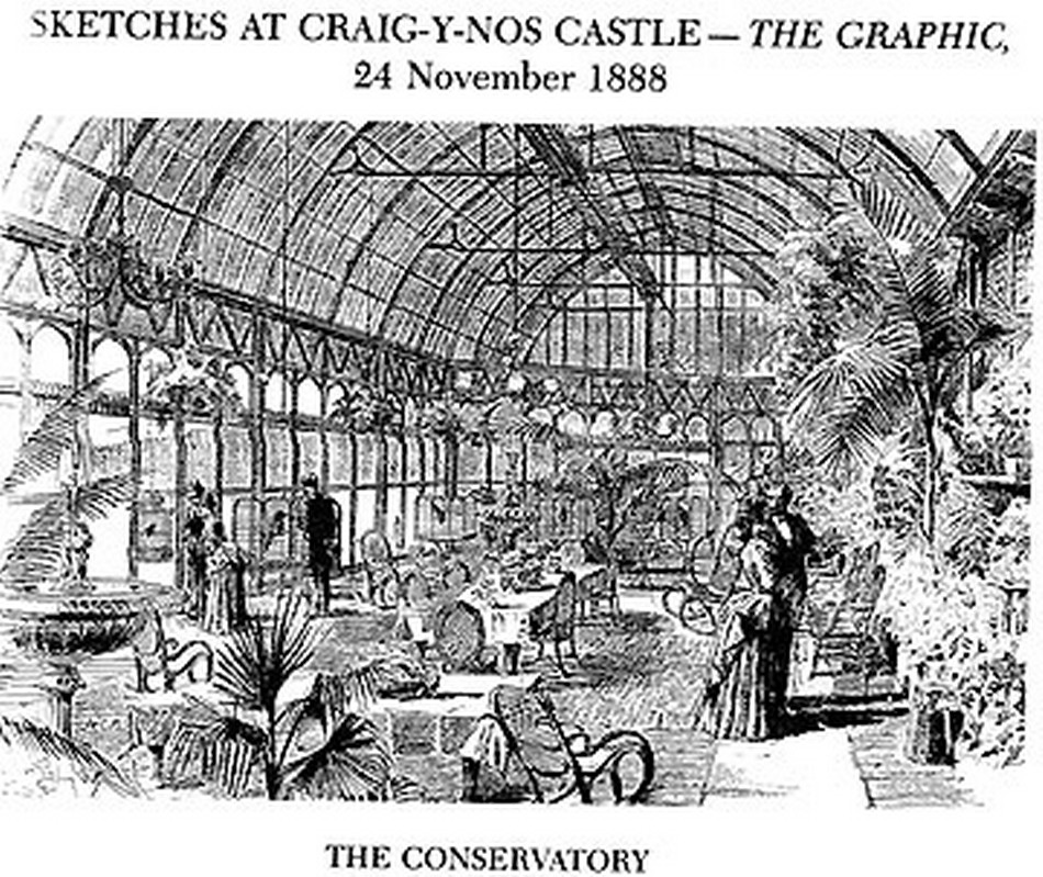 The Conservatory at Craig y Nos Castle, sketched for The Graphic in 1888. Note the impressively tall and substantial looking glass roof.