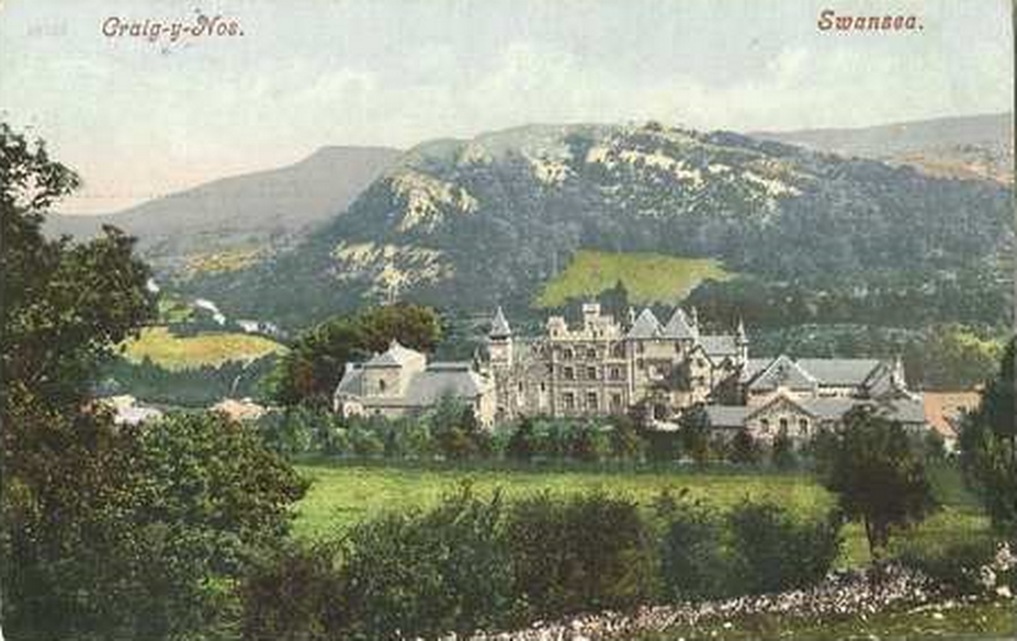 A more recent photograph of Craig y Nos Castle after theatre added in 1891, probably around 1900