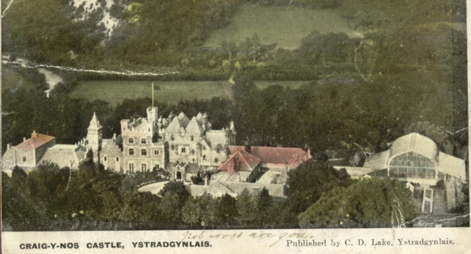 Post 1891 postcard of Craig y Nos Castle, showing the winter gardens (now the Patti pavilion in Swansea)