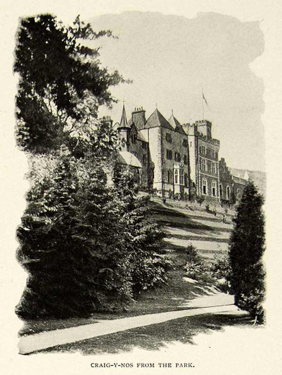 Rear aspect of Craig y Nos Castle in Adelina Patti's era, pre 1920.