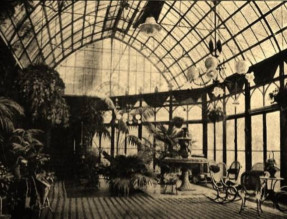 Conservatory with its impressively huge glass roof circa 1890-1900