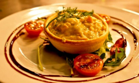 Brecon Beacons Hotel Craig y Nos Castle salmon, prawn and cheese tartlet