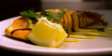 Salmon Fillet with Hollandaise Sauce at  Brecon Beacons Hotel Craig y Nos Castle Evening Bar Meals