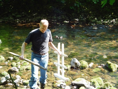 After vandals attacked the balustrade, General Manager Ian recovers part of the summer house from the Rive Tawe