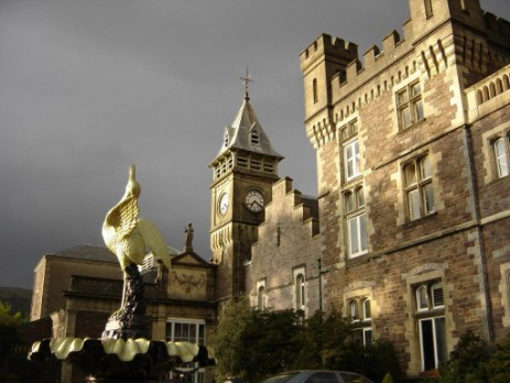 Brecon Beacons Hotels Craig y Nos Castle front facade and clocktower