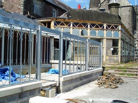 Extension steels to spa / sports room being erected - note the non-restored conservatory in the background