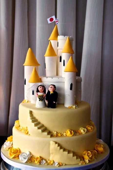 Yellow Castle Wedding Cake at Craig y Nos Castle wedding venue in the Brecon Beacons National Park