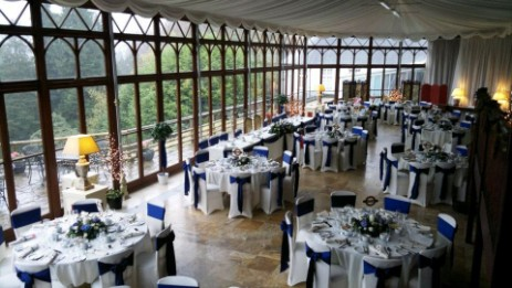 The Conservatory set up for a Wedding Breakfast at Brecon Beacons Hotel Craig y Nos Castle Wedding venue