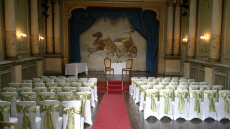 The opera house at Brecon Beacons Hotel Craig y Nos Castle is used as the wedding ceremony room