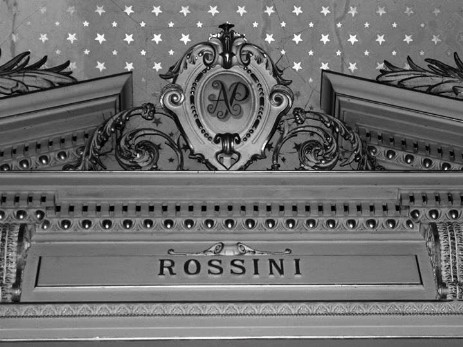 The Craig y Nos Castle theatre, built by Adelina Patti in 1891, features many famous composers, with Rossini, Adelina Patti' favourite, under her own AP logo