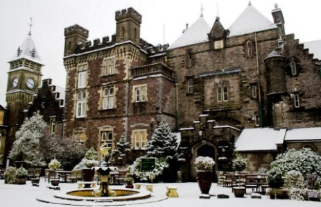 Brecon Beacons Hotels Craig y Nos Castle courtyard and fountain in winter snow